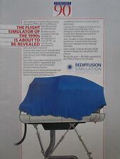 1/1990 PUB REDIFFUSION SIMULATION SIMULATOR CONCEPT 90 AIRLINER ORIGINAL AD