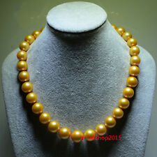 """AAAAA 18""""9-10mm REAL NATURAL round south sea GOLDEN pearl necklace 14K gold"""