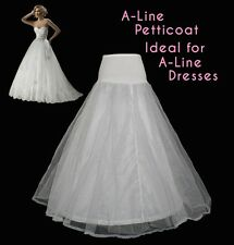 NEW WHITE A LINE 1 HOOP WEDDING DRESS PETTICOAT BRIDAL UNDERSKIRT CRINOLINE