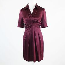 Eggplant purple 100% silk satin BCBG MAX AZRIA short sleeve shirt dress 4