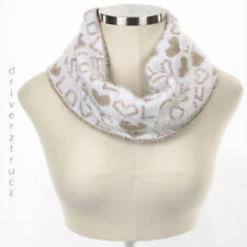 JUICY COUTURE Winter TAN & WHITE Loop INFINITY SCARF Love & Heart METALLIC GOLD