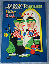 Whitman 1961 Vintage Magic Paintless Paint & Coloring Book, Clown cover, unused