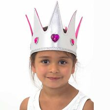 Luxury Silver Pink Jewel Kids Girls Queen Crown Fancy Dress (3-8 yrs)Lucy Locket