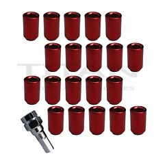 20 Piece Red Chrome Tuner Lugs Nuts | 12x1.5 Hex Lugs | Key Included