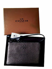 COACH Zip Clutch Wrislet in Metallic Silver