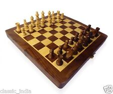 "Wooden ✿ Chess Board Box (folding) 8x8"" ✿ Natural Wood made carved Coins & Box"