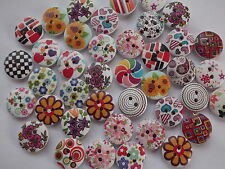 40 x MIXED PATTERN 2 HOLE WOODEN 13mm BUTTONS, SCRAPBOOKING, CRAFT ETC.,