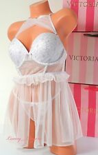 NWT Victoria's Secret Lingerie VS Flyaway Babydoll Bra 36D Push-up String L Set