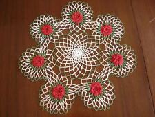 """Vtg Large 20"""" Hand Crocheted Christmas Doily 3D Red Rose Green White Holiday"""