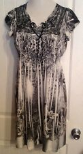 NEW~M Medium  *One World*SeXy Soft Dress Stretchy Sheer Sleeve  10/12