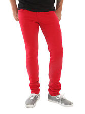 "XXX RUDE Bright Red Wash Skinny Fit Jeans Men's Pants 26"" Waist 32"" Inseam NEW"