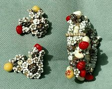 HOBE SIGNED  FRUIT SALAD WIRE WRAP BRACELET AND EARRINGS