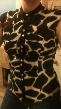 Karen Millen Giraffe / Animal Print Fitted Black Shirt Size 10
