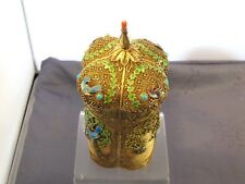 VERMEIL ANTIQUE LARGE CHINESE ENAMELED STERLING SILVER TEA CADDY BOX BOITE A THE