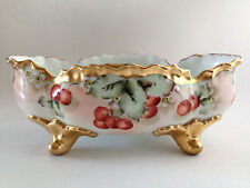 Antique Limoges Footed Bowl Hand Painted Cherries Fruits Flowers Heavy Gold 12""