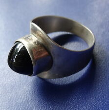 vintage Danish SILVER signed COF modernist black stone sculptural ring -C849