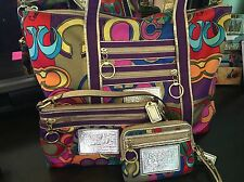COACH Poppy Pop C Glam Tote #14365 W/ Matching Wristlets! Rare