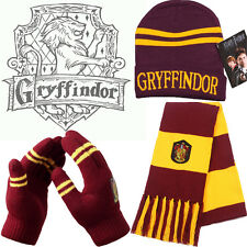 Harry Potter Gryffindor House Gift 3 PCS of Wool Knit Scarf + Hat + Thick Gloves