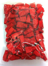 PACK OF 100 RED RJ45 SNAGLESS NETWORK CABLE PLUG HOODS BOOTS CAT5e CAT6
