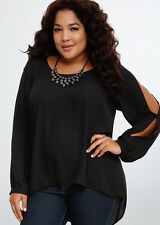 Torrid Plus Size Black Split Sleeve High Low Beaded Blouse New With Tags Size 1
