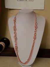 Betsey Johnson Rose Gold-Tone Mesh-Wrapped Crystal Link Long Necklace  NWT $75