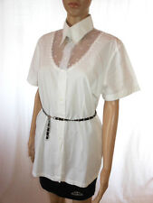 Boutique Bis Womens White Vtg 80s Secretary Classic Formal Blouse sz 14 AE18