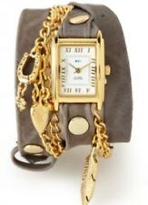 LA MER COLLECTIONS GREY /GOLD NATURE LEAF LEATHER TRIPLE Wrap Watch $190