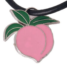 10pcs Pink Peach Shape Green Leaves Zinc Alloy Pendants Fit Jewelry Findings L
