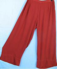 TIENDA HO~BRIGHT RED~MOROCCAN COTTON~Split Hem~ROMA PANTS~Relaxed~Lagenlook~OS