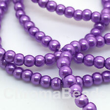 3mm Glass Faux Pearls strand - Mauve (230+ beads) jewellery making, craft purple