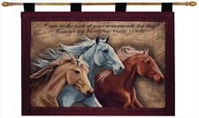 Three Horses Tapestry Wall Hanging w/Verse