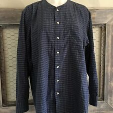 DKNY Tunic Top Button Down Shirt Long Checkered Plaid Blue Large Lagenlook