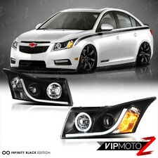 CHEVY CRUZE 2011-2015 Black Halo Headlights Set+LED Leon Daytime Running Lamps