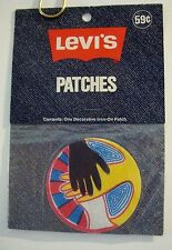 """LEVI'S IRON ON PATCH RARE NEVER USED 1970's """"HANDS OF PEACE"""" JEANS, JACKET, PANT"""