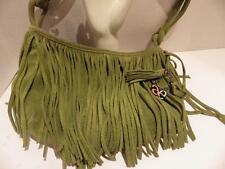 Fringed Suede Handbag Satchel Mossy Green Hippie BoHo American Eagle Outfitters
