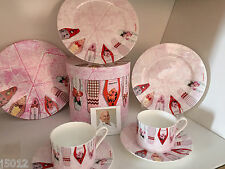 ❤CHRISTOPHER VINE GIFT 6 PIECE SET CUP SAUCER PLATES FINE BONE CHINA RRP $99 NEW