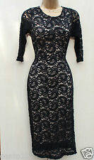 New Look Black Vintage Style Paisley Lace Cameo Rose Bodycone Cocktail Dress 8UK
