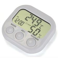 Mini LCD Digital Humidity Temperature Meter Gauge Hygrometer Thermometer +Clock