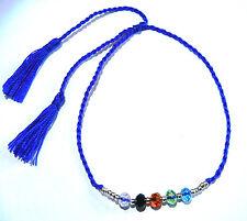 Bracelet brésilien Friendship ajustable Amitié Strass Pompon bleu fluo Perles