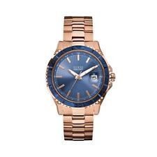 BNIB Guess W0244G3 Blue Dial with Date Rose Gold-Tone Masculine Sport Mens Watch
