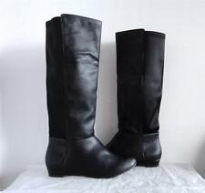 RAMPAGE Black Fabric Faux Leather Knee High Tall Wedge Riding Fashion Boots 6 36