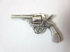 Sterling silver mother of pearl grip pistol gun charm with movable drum revolver