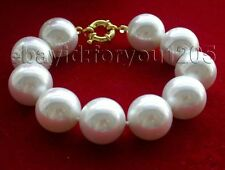 """9"""" Natural 20mm White Round Shell Pearl Bracelet  #f1238!"""