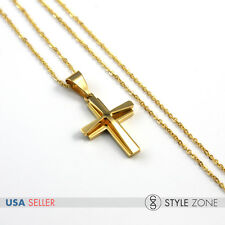 "18"" Girl WOMEN's Stainless Steel Small Gold tone Cross Pendant Necklace Cute 13E"