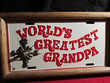 VINTAGE License Plate Wall Clock Retro Home Decor WORLDS GREATEST GRANDPA