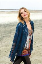 NWT JOHNNY WAS OPEN FRONT SHORT CROCHET JACKET CARDIGAN DEEP DAWN  M BLUE