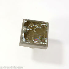Brown Crackle Crystal Glass Cabinet Brush Nickel Knob Drawer Pull Square Modern