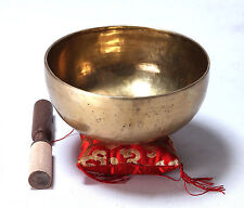 Large Tibetan Buddhism Meditation Singing Bowl 100% Handmade w/ Mallet & Pillow
