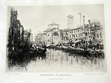 Antique 1886 Litograph Marketplace in Chioggia Italy Venice Town