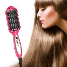 Wawoo Multi-functional Flat Iron Hair Straightener Brush Comb Anion Ceramic S...